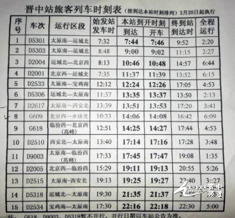 行新的列车时刻表